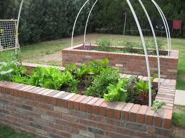 brick raised bed vegetable garden -