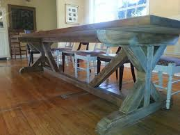 my diy farm table side view 11ft long 4ft wide the base farmhouse table x base
