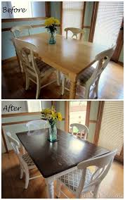 painted dining room furniture before and after. dining table makeover: before and after dark top with light white legs. love this look!! | diy projects for neal pinterest makeover, painted room furniture