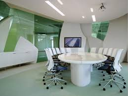 office conference room decorating ideas. Conference Room Decorating Ideas Office Workspace White Swivel Chairs Surrounding Glossy In Artistic Round Desk