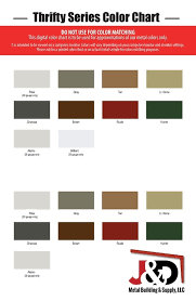 Panel Loc Plus Color Chart Thrifty Color Chart J D Metal Building Supply