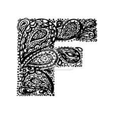 Fototapeta Písmeno F Dekorativní Abeceda S Bordó Zen Náplní Doodle Tetování