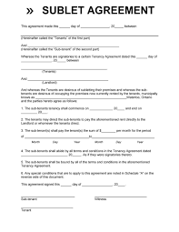 Sample Sublease Agreement 40 Professional Sublease Agreement Templates Forms