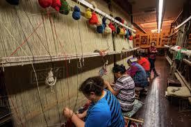 loom at the weaving work