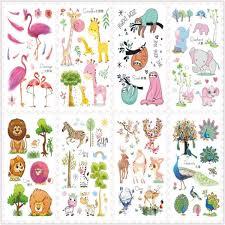 Rocooart 2018 New Cute Cartoon Flash Taty Flamingo Lion Waterproof Temporary Tattoo Stickers For Children Body Art Tatuajes Kids