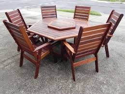 patio table and 6 chairs: hexagon patio table with teak patio furniture and  person chairs