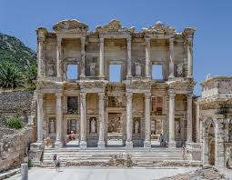 library remains of the library of celsus at ephesus