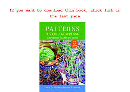 Patterns For College Writing New Patterns For College Writing With 48 MLA Update [PDF]