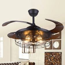 42 semi flush mount ceiling fan retractable blade with lights chandelier remote