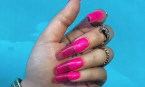 Neonové Gelové Nehty Růžové