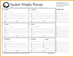 Homework Planner Template Printable Homework Planner Template