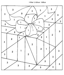 Small Picture Christmas gift Color By Number Coloring Pages For Kids 91