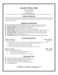 Resume Cover Letter Examples Medical Billing Professional Resume