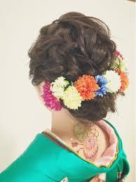 和花飾りのバランス 大人可愛い 福岡ヘアセットヘア