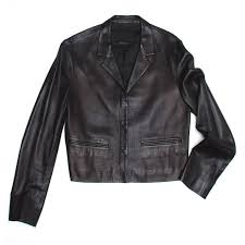 black soft nappa leather cropped jacket with rounded snap on collar size 42 italian sizing