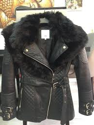 river island black faux leather jacket
