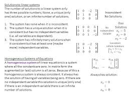 solutions to linear systems the number of solutions to a linear system only has three possible