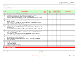 Sample Excel Checklist Template Interesting Environmental Checklist Format Samples Word Document Download