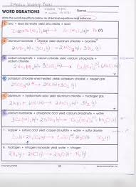 word equations worksheet chemical reactions tessshlo
