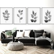 prints wall art set of 4 gray leaf