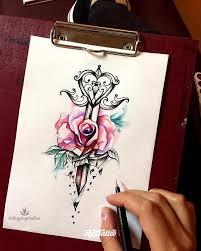 фото эскизы роза в стиле абстракционизм авторский акварель блэкворк
