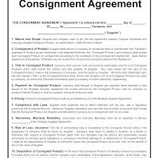 Consignment Sales Agreement Template Consignment Agreement Sample