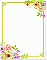 Flower Border Designs For Paper Amazon Com Stationery Paper Perfect For Notes Letter Writing