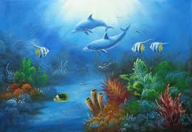the wonderful sea world oil painting animal marine life dolphin fish naturalism 24 x 36 inches with frame