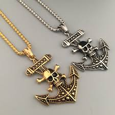 nautical jewelry anchor charm pendant cross necklaces men s hip hop anchor necklaces skeleton skull pendant