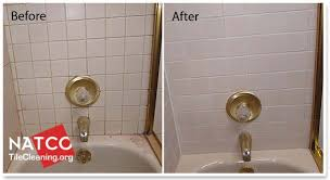 before and after colorsealing shower grout