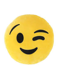 Shop Unbranded Wink Emoticon Cushion Polyester Yellow Brown