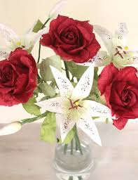 Red Paper Flower Valentine Paper Bouquet Red Paper Roses Lilies