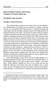 Pdf Black Feminist Criticism And Drama Thoughts On Double Patriarchy