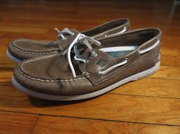 euc sperry top sider men s 11 d brown gray leather 2 eye a o boat shoes 1 of 9
