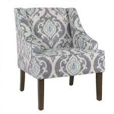 Blue Pattern Accent Chair Mesmerizing Pattern Accent Chair Damask Grey Blue Upholstery Living Room