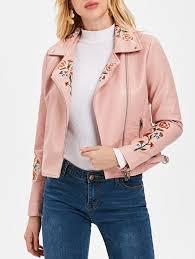 oblique zipper faux leather biker jacket light pink xl
