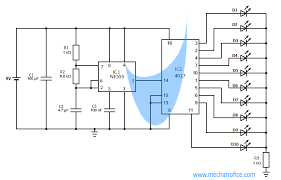 led chaser circuit using ic 4017 and 555 4017 wiring diagram at 4017 Wiring Diagram
