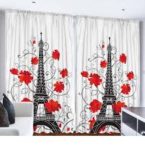 ... Print Curtains City Decor Living Room Decorations Accessories French  Style Paris Curtain Two Panels Set 108 Inches By 84 Inches, Red Black White:  Home ...