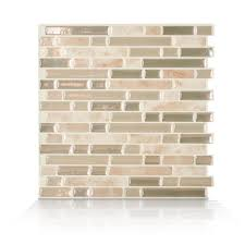 smart tiles bellagio sabbia 10 06 in w x 10 00 in h l and stick self adhesive decorative mosaic wall tile backsplash 12 pack sm1043 12 the home