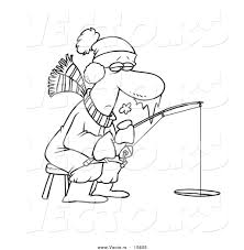 Small Picture Vector of a Cartoon Frozen Man Ice Fishing Coloring Page Outline