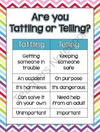 Free Tattling Vs Telling Freebie From Teach At The