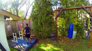 homemade crossfit style backyard workout setup gopro diy backyard gym ideas