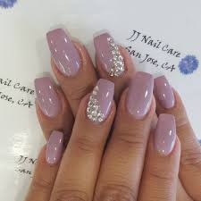 Nail Designs With Jewels Shellac Nail Coffin Shape With Rhinestone Design By Linh
