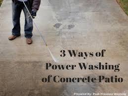 concrete patio by peak pressure washing
