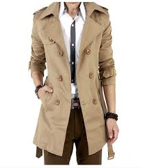 trench coat men classic double ted long british style overcoat fisher s