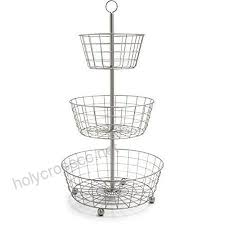 jmiles uh fb205 3 tier decorative wire fruit basket countertop stand silver