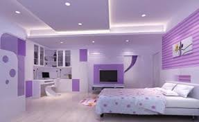 Awesome ... Excellent Pink And Purple Girl Bedroom Decorating Design Ideas Using  White LED Lamp In Bedroom Including Light Purple Polka Dot Bedroom Wall  Paint And ...