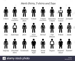 Types Of Design In Fashion Men Shirts T Shirts And Tops Stick Figures Depict A Set