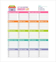 Grocery Checklist Free Printable Colorful Grocery Checklist Template For