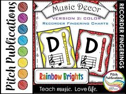 Recorder Fingering Chart Posters V2 Color Music Decor Rainbow Brights